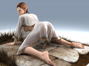 3d elf babe spreads legs for a monster