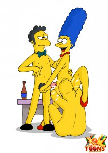 Threesome sex  actions with Simpsons characters